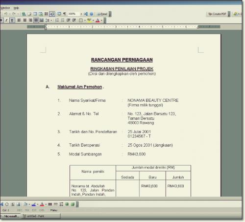 Format dan Contoh Rancangan Perniagaan